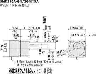 Kích thước hộp số SMK216A